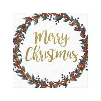 Lienzo Guirnalda de la acuarela - Felices Navidad - ramas
