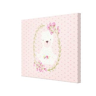 Lienzo Guirnalda floral y corazones del oso lindo