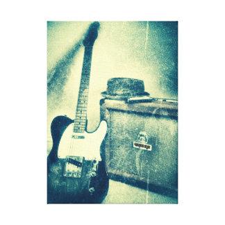 Lienzo guitarra clásica con la lona del bluesman del