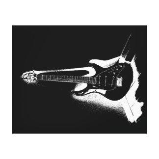 Lienzo Guitarra eléctrica negra y blanca - lona