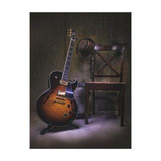 Lienzo Guitarra y silla de los azules