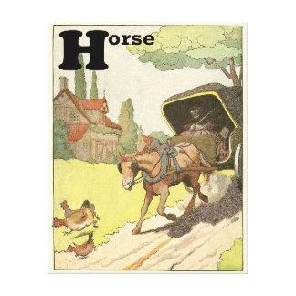 Lienzo H está para el alfabeto del caballo y del carro