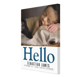 Lienzo Hola recuerdo personalizado nuevo bebé
