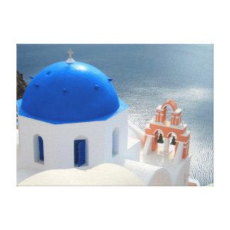 Lienzo Iglesia de Santorini por la tarde Sun