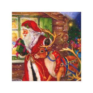 Lienzo Ilustracion de Papá Noel - ilustraciones del