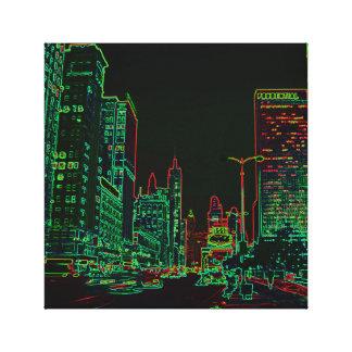 Lienzo Imagen de neón de la noche del resplandor de la