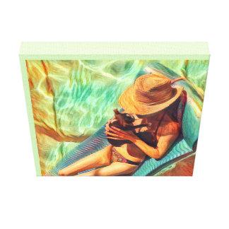 Lienzo Impresión-Mujer de la casa de playa y perrito de