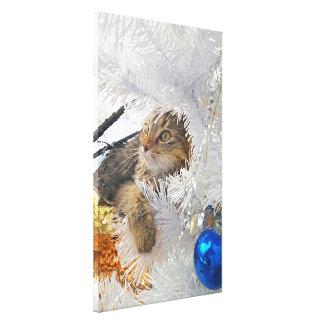 Lienzo Impresionismo del gato de Tabby del navidad
