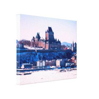 Lienzo Invierno el   la ciudad de Quebec