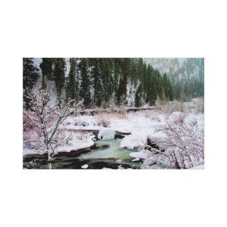 Lienzo Invierno en el río de Wenatchee