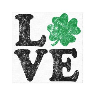 Lienzo Irlandés del trébol del AMOR del día de St Patrick