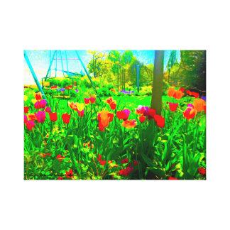 Lienzo Jardín del patio trasero