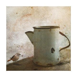 Lienzo jarra oxidada vieja de la leche
