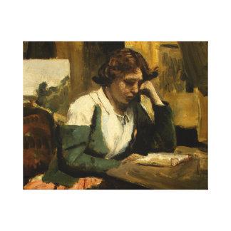 Lienzo Jean-Baptiste-Camilo Corot - lectura de la chica