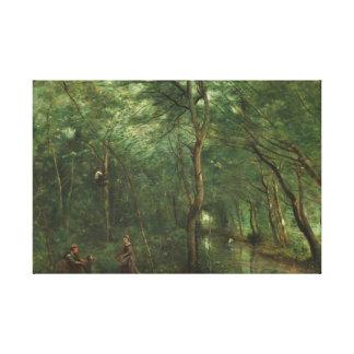 Lienzo Jean-Baptiste-Camilo Corot - los recolectores de