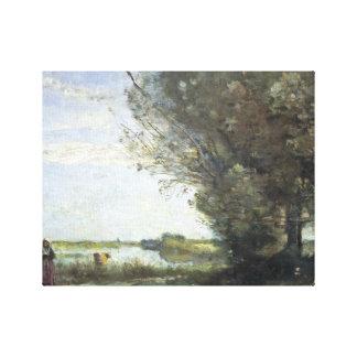 Lienzo Jean-Baptiste-Camilo Corot - opinión del río