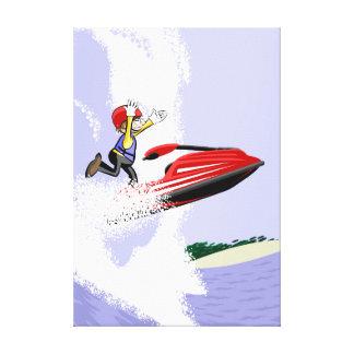 Lienzo Jet ski niño da un salto por el aire si agarrarse