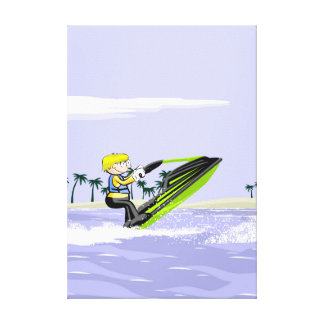 Lienzo Jet ski niño haciendo piruetas en el agua