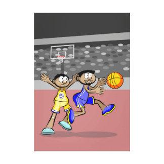 Lienzo Jugador de basquetbol corriendo con la pelota