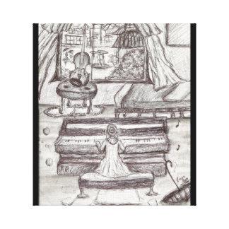 Lienzo Jugando el piano en un día lluvioso encierre el