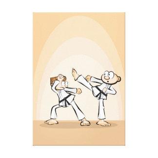 Lienzo Karate acción de combate de dos oponentes