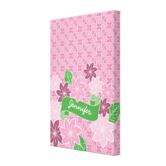 Lienzo Kimono rosado de Japón de la bandera del verde del