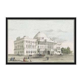 Lienzo La Casa Blanca, capitolio en la litografía de