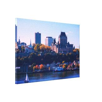 Lienzo La ciudad de Quebec en otoño
