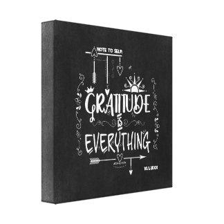 Lienzo La gratitud es todo nota a la pizarra del uno