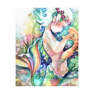 """Lienzo La """"sirena ama lona envuelta del Seahorse"""""""