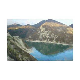 Lienzo Lago en las montañas en técnica del polígono