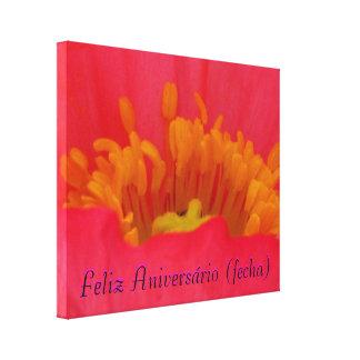 Lienzo Lámina - Feliz Aniversário (fecha) del en d Impresión En Lona Estirada