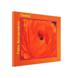 Lienzo Lámina - Feliz Aniversário (fecha) del en d Impresión En Lienzo Estirada