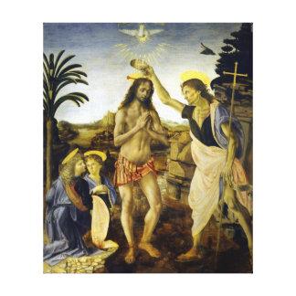 Lienzo Leonardo da Vinci el bautismo de Cristo