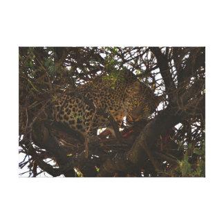 Lienzo Leopardo en árbol con la presa