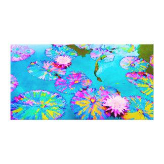 Lienzo Lilypads abigarrado con Waterlilies rosado