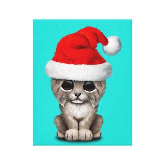 Lienzo Lince lindo Cub que lleva un gorra de Santa