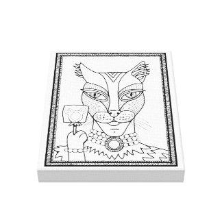 Lienzo Línea diseño del Lollipop del ratón del gatito de