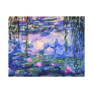Lienzo Lirios de agua de Monet con reflexiones de la