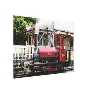 Lienzo Locomotora roja del motor del tren del vapor, País