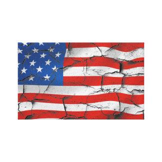 Lienzo Lona agrietada de la bandera americana