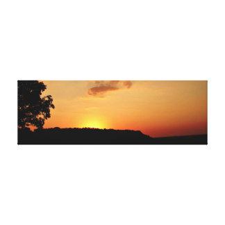 Lienzo Lona anaranjada Pring del horizonte de la puesta