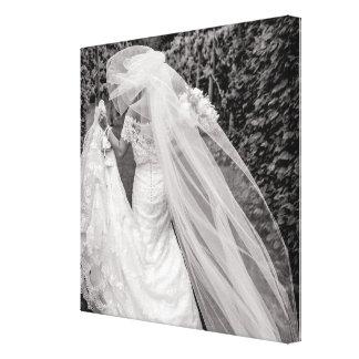 Lienzo Lona blanco y negro de la foto del ramo del boda