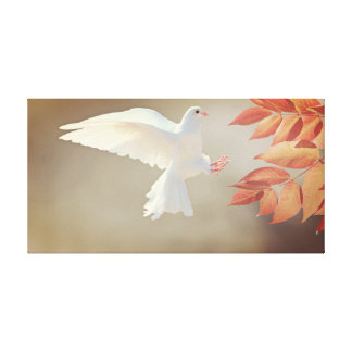 Lienzo Lona de la paloma del blanco que vuela
