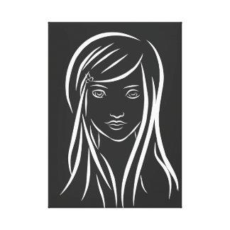 Lienzo Lona del dibujo lineal del chica