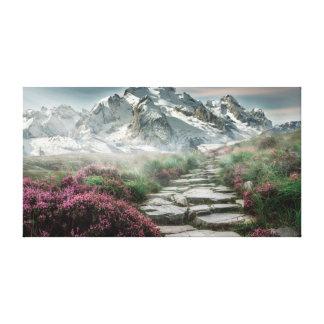 Lienzo Lona del paisaje de la trayectoria de la montaña