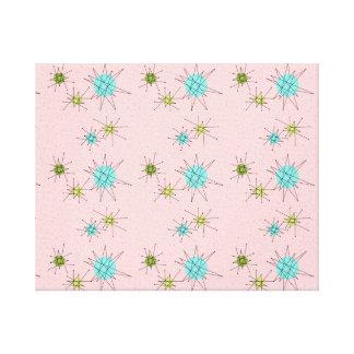 Lienzo Lona estirada Starbursts atómica icónica rosada