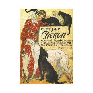 Lienzo Lona francesa del anuncio del veterinario del