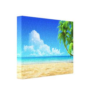 Lienzo Lona pintada playa del Caribe