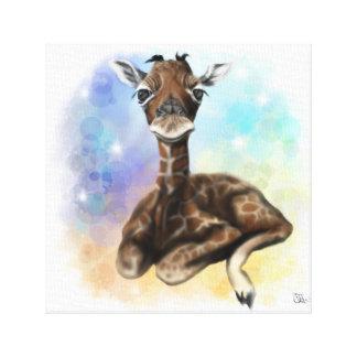 Lienzo Lona que se sienta de la jirafa del bebé